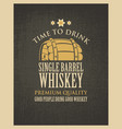 banner with a barrel of whiskey in retro style vector image