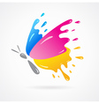 butterfly colored cmyk print splash vector image