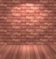 Brown brick wall with wooden floor empty room vector image vector image
