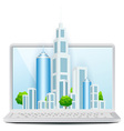 Icon Modern City on Laptop vector image vector image