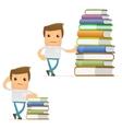 cartoon man with books vector image