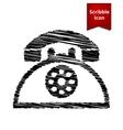 Retro telephone web icon with pen effect vector image