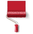Paint roller brush with red paint track vector image