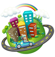 A boy travelling around the city vector image