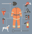 Fire-fighter elements set collection firefighter vector image