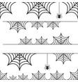 halloween set of border cobweb with spider vector image