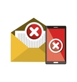 smartphone and email error symbol design vector image