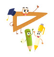 funny smiling pen pencil ruler characters back vector image