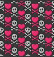 skull heart and crossbones seamless pattern vector image