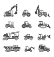 Construction vehicles icons vector image