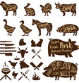 butcher tools Farm animals Fresh pork vector image