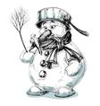 Funny cartoon snowman isolated drawing vector image