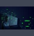 hacker man behind desktop computer night attack vector image