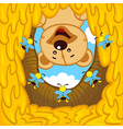 teddy bear looks into hive with bees vector image