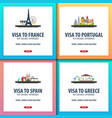visa to france portugal spain greece document vector image