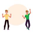 men boys guys friends rejoicing cheering vector image