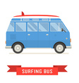 Surfing Tourist Summer Bus Icon vector image