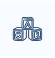 Alphabet cubes sketch icon vector image