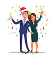 corporate christmas party smiling drunk vector image
