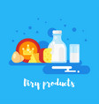 flat style of dairy products vector image