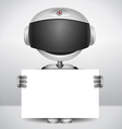 robot holding white paper vector image