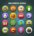 Round Bright Icons with Long Shadow - Halloween vector image