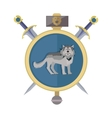Grey Wolf in Gold Circle Game Object vector image