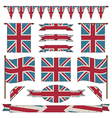union jack flags and ribbons vector image vector image