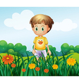 A young boy in front of the garden at the hilltop vector image vector image