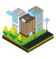 3d design for three buildings on road vector image