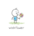 boy with a flower vector image vector image