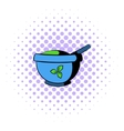 Blue mortar and pestle icon comics style vector image
