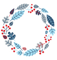 Christmas retro holiday wreath isolated on white vector image