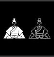 emperor of china set white icon set white color vector image