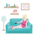 Girl resting on couch vector image