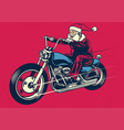 Santa claus riding motorcycle vector image