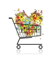 Floral heart in shopping cart for your design vector image