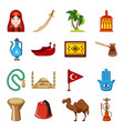 turkey travel icons set cartoon style vector image