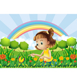 A girl at the garden with a rainbow at the back vector image vector image