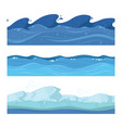 ocean or sea water waves set of horisontal vector image
