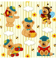 seamless pattern with teddy bear vector image
