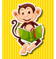 Little monkey reading storybook vector image