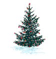 festive fir tree with red balls isolated on white vector image