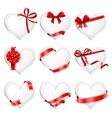 Festive heart-shaped cards with red gift ribbons vector image