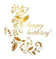 Gold greeting Happy birthday card vector image