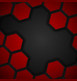 Hexagon metal background Black and red background vector image