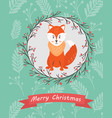 holiday postcard with funny fox vector image