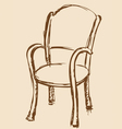 Wooden chair with armrests vector image