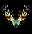 Symmetrical Pattern of Golden Butterflies vector image vector image