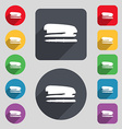 Stapler and pen icon sign A set of 12 colored vector image